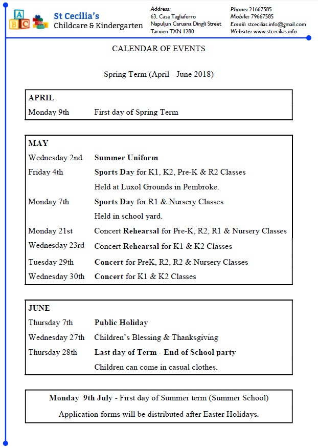 Calendar of Events Spring Term